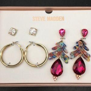 Steve Madden 3 sets of earrings Hoops, drop, studs